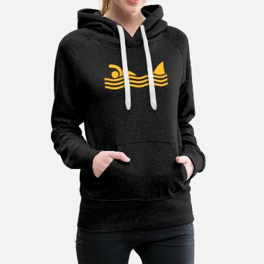 Waves swimmer with shark - Women's Premium Hoodie