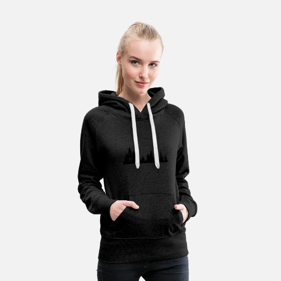 Forest Hoodies & Sweatshirts - Black silhouette of a forest - Women's Premium Hoodie charcoal grey