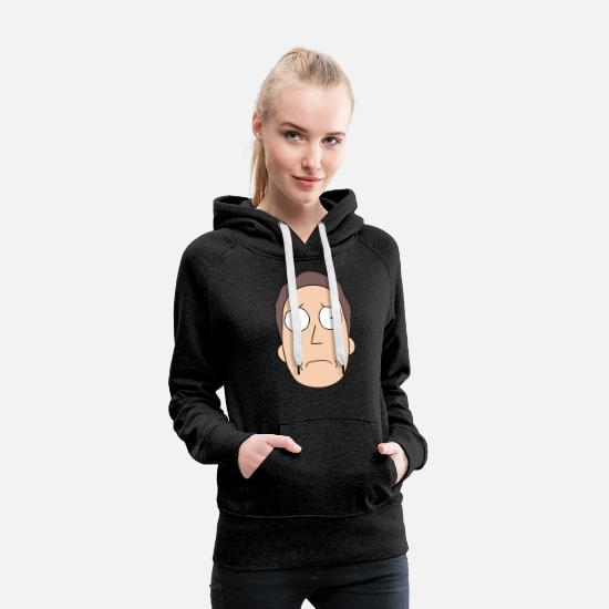 Rick Hoodies & Sweatshirts - Rick and Morty Jerry Smith - Women's Premium Hoodie charcoal grey