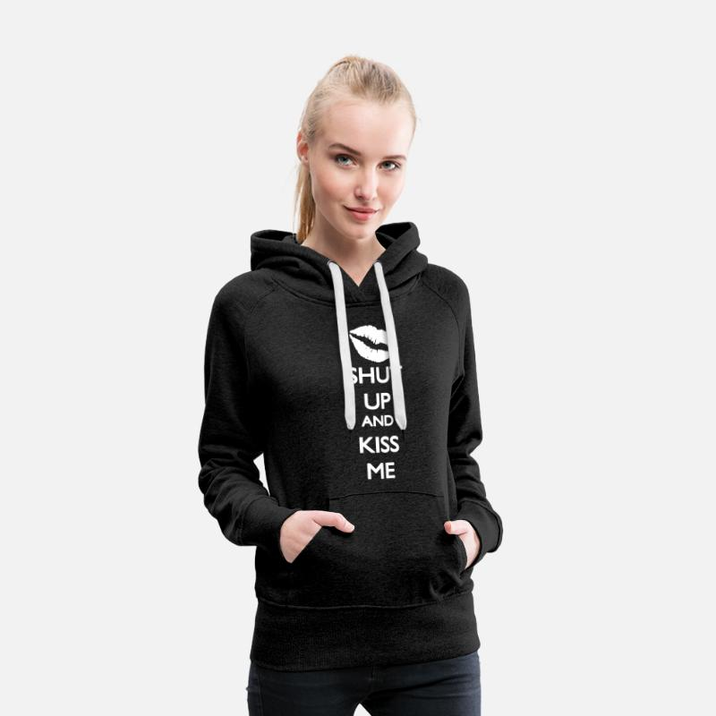 And Sweatshirts - Shut up and Kiss Me - Dame premium hættetrøje charcoal