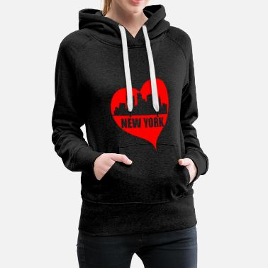 I Love New York I Love New York Amo New York Suvenir - Felpa con cappuccio premium da donna