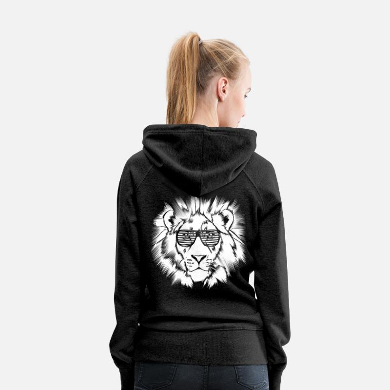 Funky Hoodies & Sweatshirts - Funky Lion Darks - Women's Premium Hoodie charcoal grey