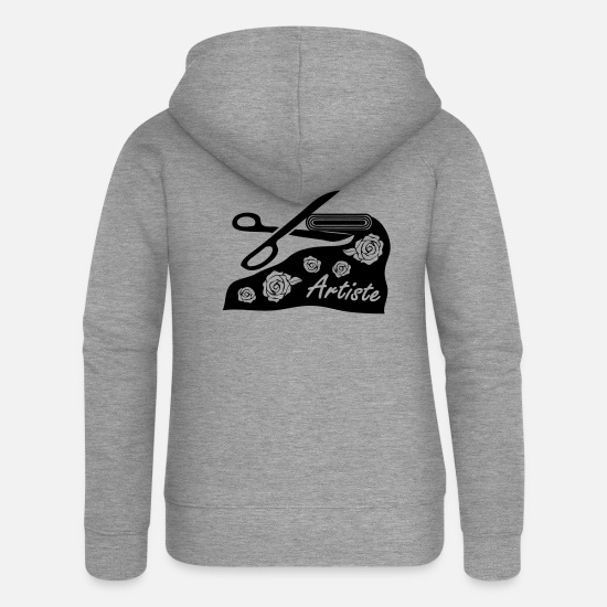 Scissors Hoodies & Sweatshirts - With fabric and scissors for art project - Women's Premium Zip Hoodie heather grey