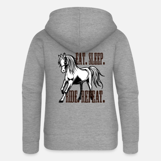 Sayings Hoodies & Sweatshirts - Horse riding stallion equestrian pony mare horse gift - Women's Premium Zip Hoodie heather grey