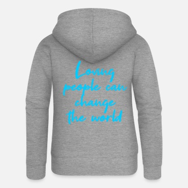 Ganesha Loving people can change the world light blue - Women's Premium Hooded Jacket