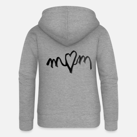 Love Hoodies & Sweatshirts - I heart MOM love - Women's Premium Zip Hoodie heather grey