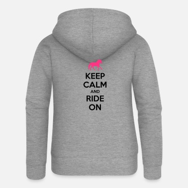 Hufeisen Keep Calm and Ride On Horse Design - Frauen Premium Kapuzenjacke
