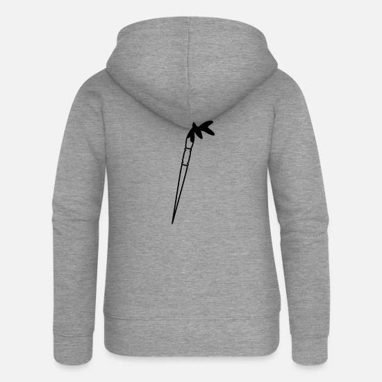 Artist Hoodies & Sweatshirts - Brush - Women's Premium Zip Hoodie heather grey