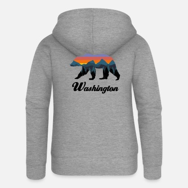 Hot Washington Bear Colorful Mountains Proud Camping Vintage - Women's Premium Zip Hoodie
