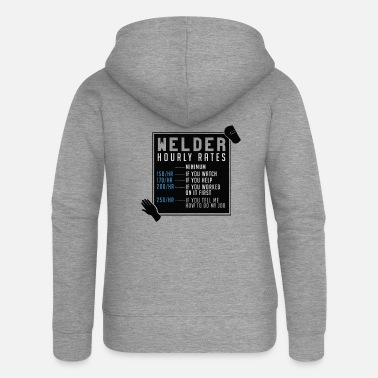 Apron Welder Hourly Rates - Women's Premium Zip Hoodie