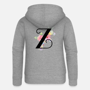 Yellow Monogram Letter Z with Pastel Flowers - Women's Premium Zip Hoodie