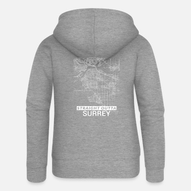 Surrey Straight Outta Surrey city map and streets - Women's Premium Zip Hoodie