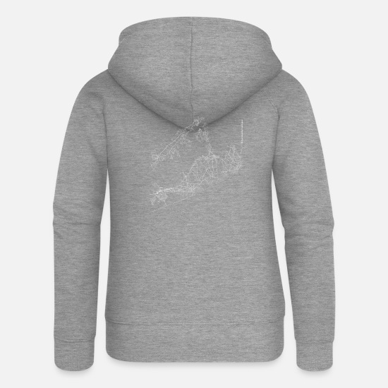 Geek Sweaters & hoodies - Minimal The Hamptons city map and streets - Vrouwen zip hoodie grijs gemêleerd