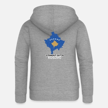 Map Straight Outta Kosovo country map - Women's Premium Zip Hoodie