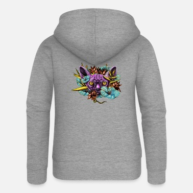 Sphinx Cat and the Flowers - Women's Premium Hooded Jacket