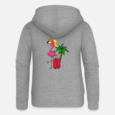 Caribbean Travel vacation vacation flamingo palm trees Caribbean - Women's Premium Zip Hoodie