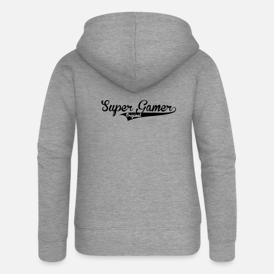 Console Hoodies & Sweatshirts - Super Gamer - Women's Premium Zip Hoodie heather grey