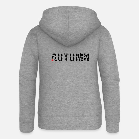 Forest Animal Hoodies & Sweatshirts - Autumn with hedgehogs and apple - Women's Premium Zip Hoodie heather grey