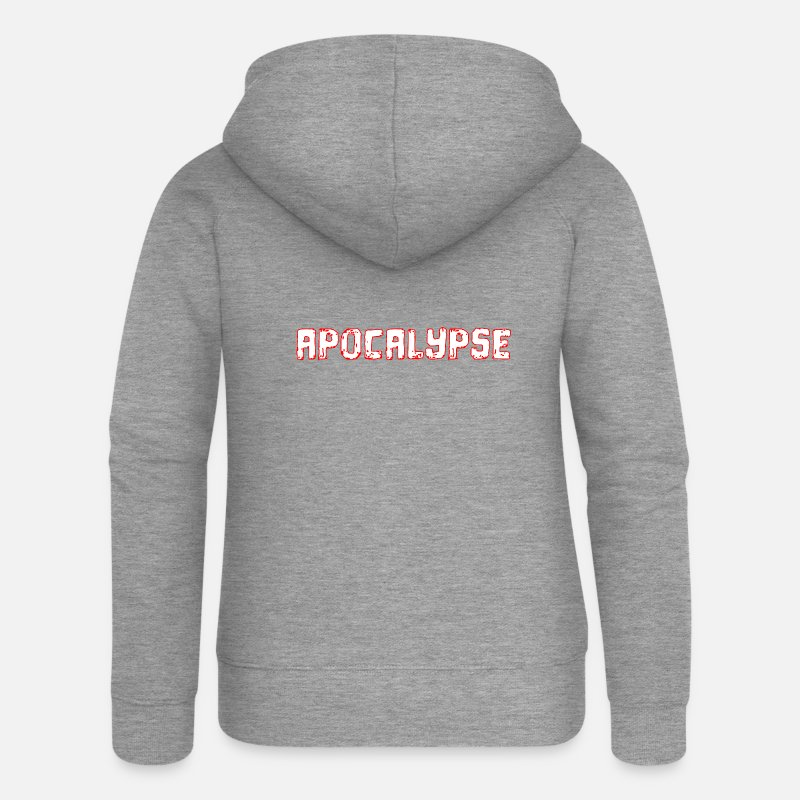 Sports Hoodies & Sweatshirts - Apocalypse design outlined in red! - Women's Premium Zip Hoodie heather grey