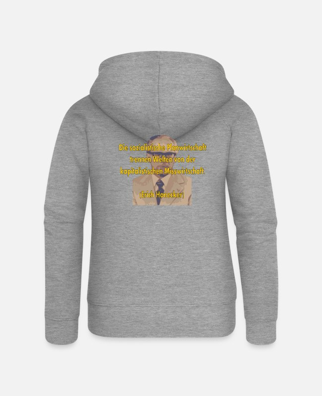Anti-socialist Hoodies & Sweatshirts - socialist planned economy - Women's Premium Zip Hoodie heather grey
