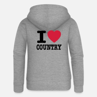 Country i love country / i heart country - Premium zip hoodie dam