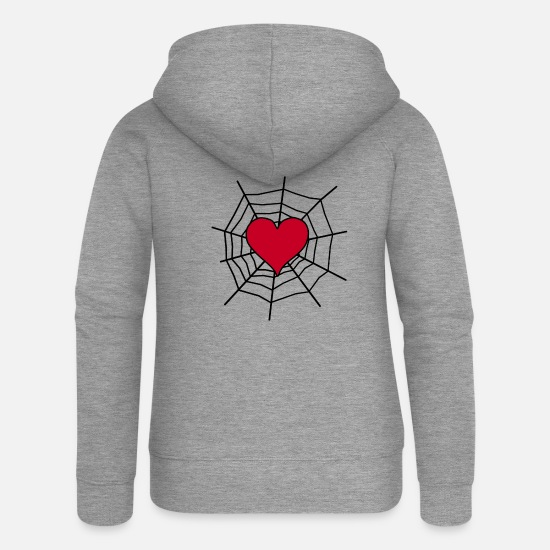 Love Hoodies & Sweatshirts - Heart in the net - Women's Premium Zip Hoodie heather grey
