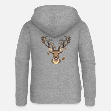 Stag Stag in the fall - Women's Premium Zip Hoodie