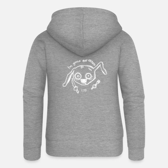 Hog Hoodies & Sweatshirts - Psycho pig vegetarian - Women's Premium Zip Hoodie heather grey