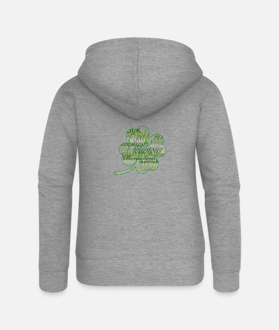 Lucky Hoodies & Sweatshirts - Irish St patricks day worded 4 leaf shamrock - Women's Premium Zip Hoodie heather grey
