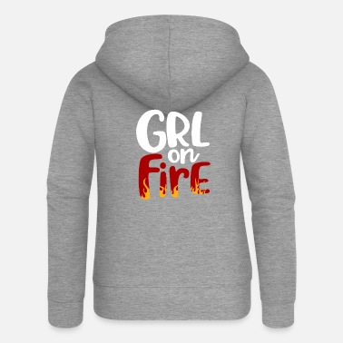 Girlie GIRL on Fire - Women's Premium Zip Hoodie