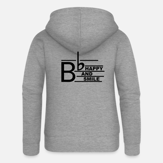 Music Hoodies & Sweatshirts - B Happy2 - Women's Premium Zip Hoodie heather grey