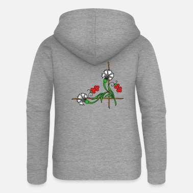 flower 9 white - Women's Premium Zip Hoodie
