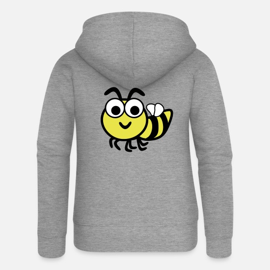 Bee Hoodies & Sweatshirts - Funny Bee - Women's Premium Zip Hoodie heather grey