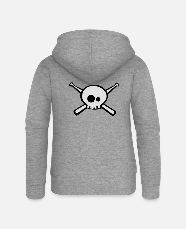 Skull And Crossbones Hoodies & Sweatshirts - Dead Drummer - Women's Premium Zip Hoodie heather grey