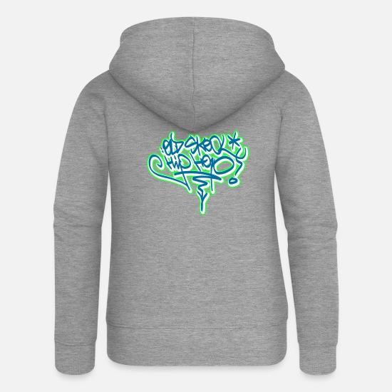 Hip Pullover & Hoodies - old skool hip hop graffiti tags - Frauen Premium Kapuzenjacke Grau meliert