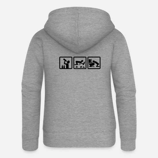 Joke Hoodies & Sweatshirts - alcohol v2 - Women's Premium Zip Hoodie heather grey
