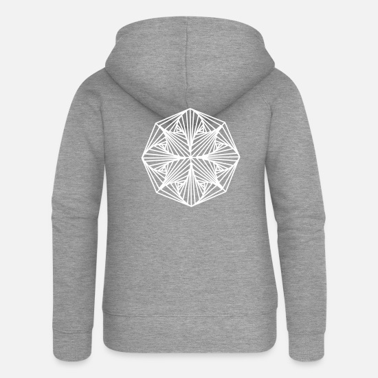 Shape Hoodies & Sweatshirts - Geometric Art: Octagon (Plain) - Women's Premium Zip Hoodie heather grey