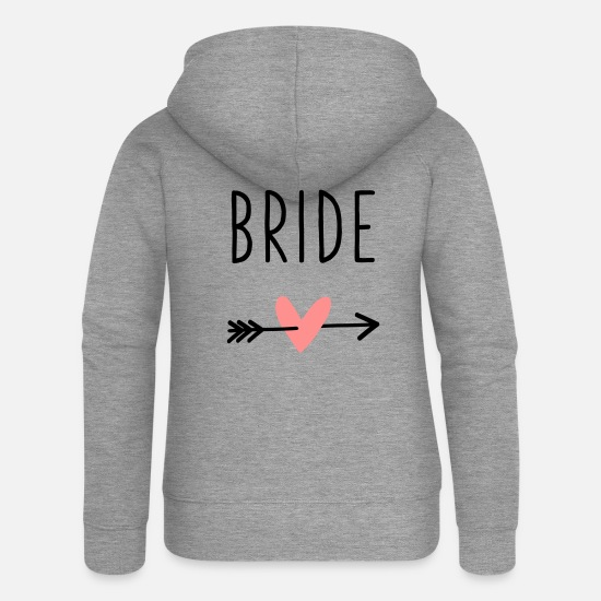 Amor Hoodies & Sweatshirts - Bride heart cupid arrow bachelor party - Women's Premium Zip Hoodie heather grey