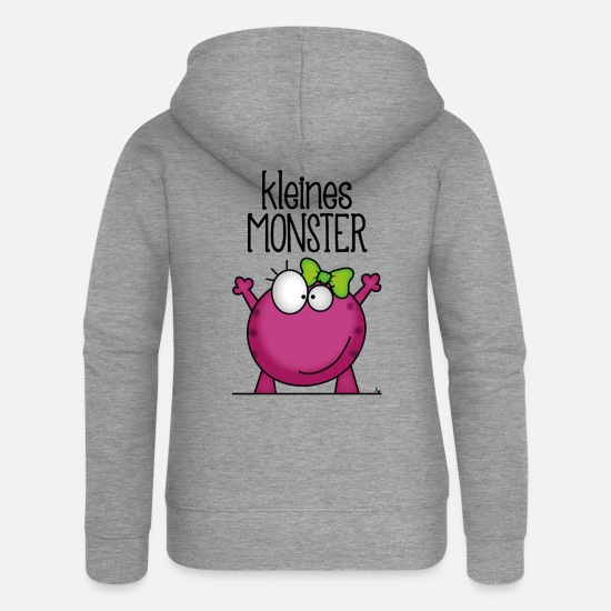 Doux Sweat-shirts - Little Monster - *** Fille *** - Veste à capuche premium Femme gris chiné