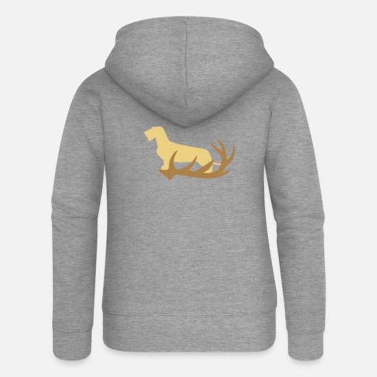 Stag Hoodies & Sweatshirts - Rauhaardackel with antler - Women's Premium Zip Hoodie heather grey