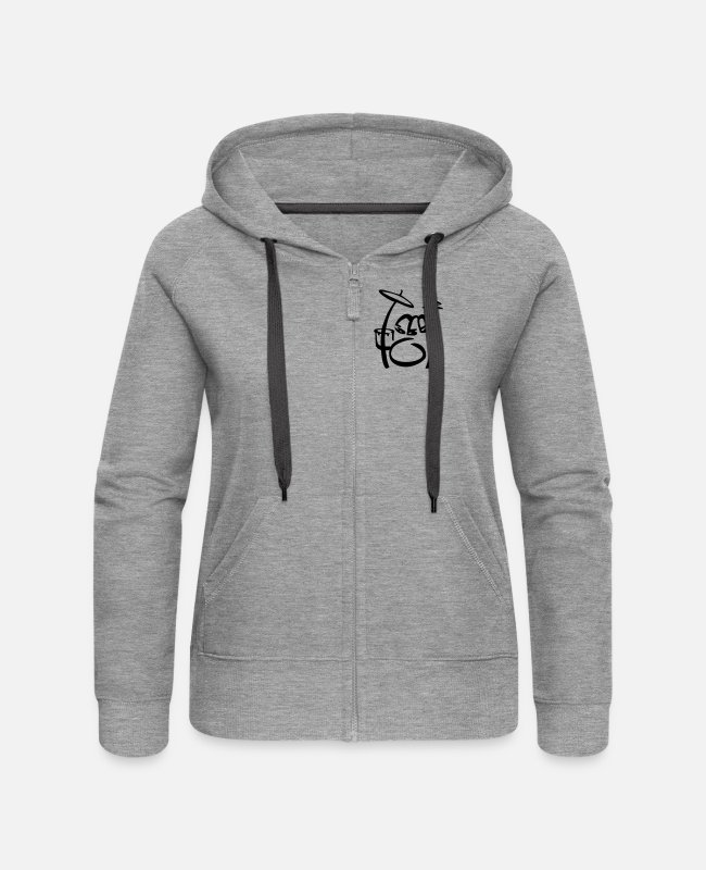 Group Hoodies & Sweatshirts - Drums kind Scribble - Women's Premium Zip Hoodie heather grey
