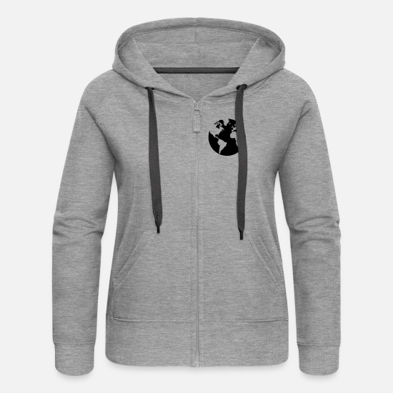 Continent Hoodies & Sweatshirts - Love Earth - Women's Premium Zip Hoodie heather grey