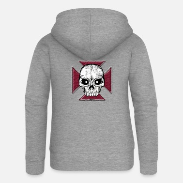 Cross 20-07 Iron Cross Skull, Skull Iron Cross - Women's Premium Zip Hoodie