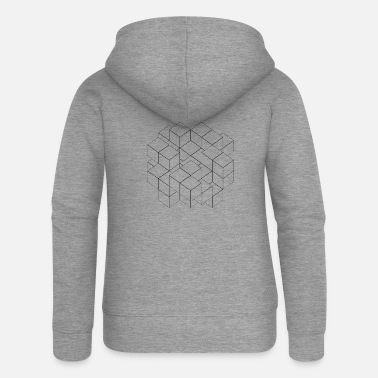 Cube transparent black - Women's Premium Zip Hoodie