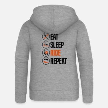 Sleeping eat sleep ride repeat sportsbike 2col - Women's Premium Zip Hoodie