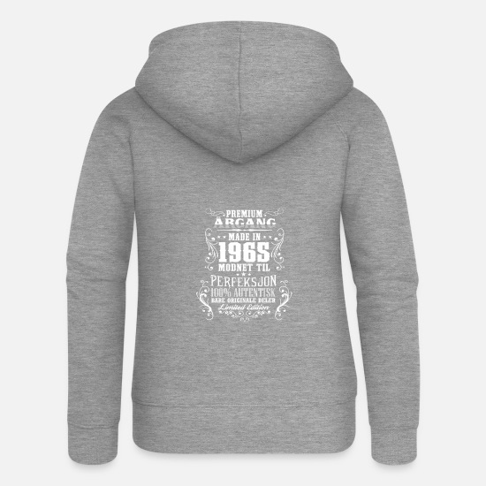 Birthday Hoodies & Sweatshirts - 1965 53 premium årgang bursdag gave NO - Women's Premium Zip Hoodie heather grey