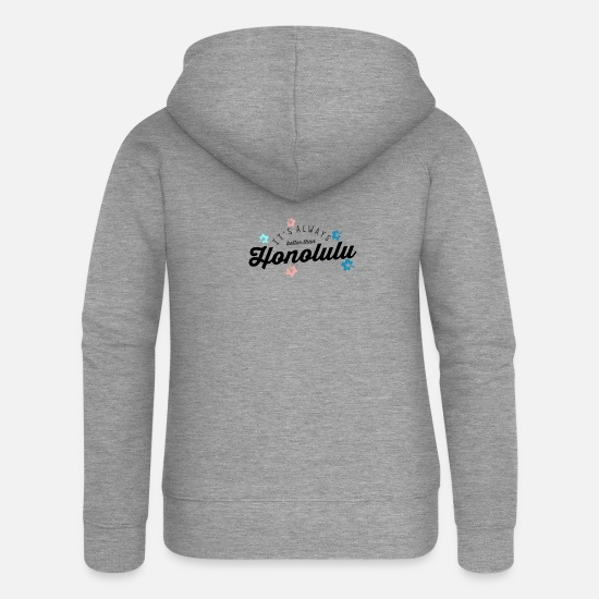 Surfer Hoodies & Sweatshirts - Aloha Honolulu Hawaii Shirt Vacation Surfing Gift - Women's Premium Zip Hoodie heather grey