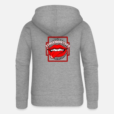 Tongue Tongue twister mouth tongue - Women's Premium Zip Hoodie