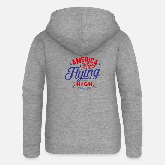 American Eagle Sweat-shirts - America Flying High 4 juillet - Veste à capuche premium Femme gris chiné