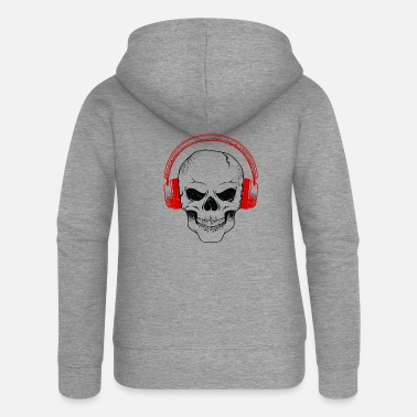 House Music skull Dj music headphones Hardrock Techno House - Women's Premium Zip Hoodie
